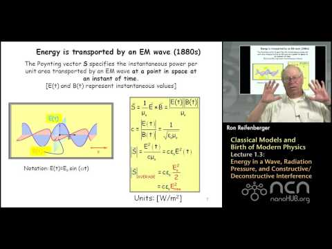 Purdue PHYS 342 L1.3: Classical Models: Energy in a Wave, Radiation Pressure, and Interference