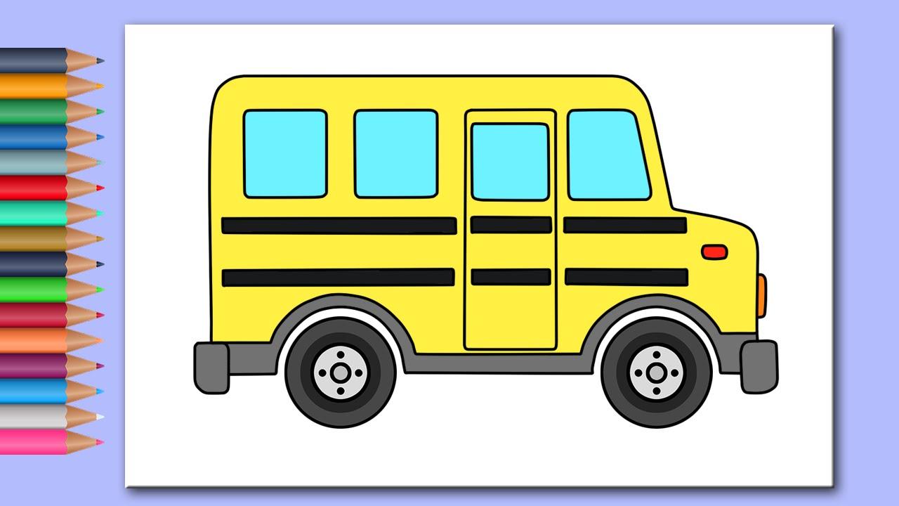 Раскраска Машинки - Автобус. Развивающее видео для малышей ...