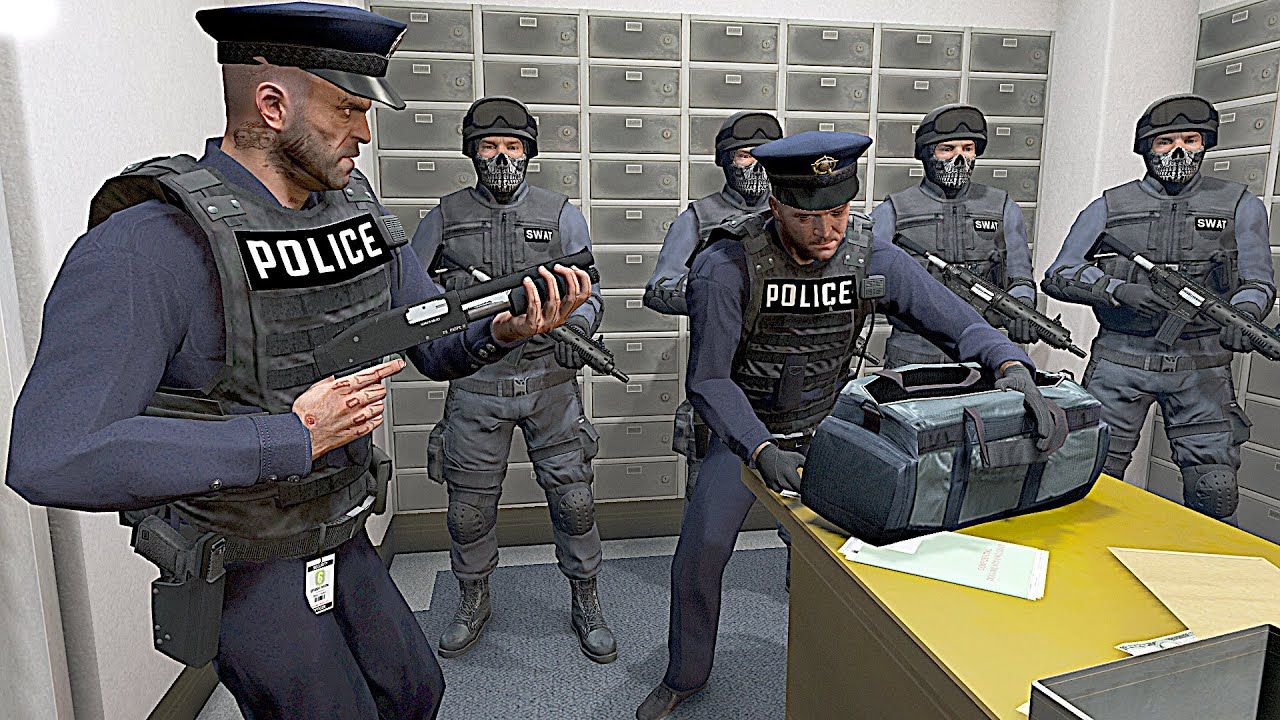 GTA 5 - BAD👮Cop Michael, Franklin and Trevor Robbing Bank with Swat!(Paleto Bank Shootout Rampage)