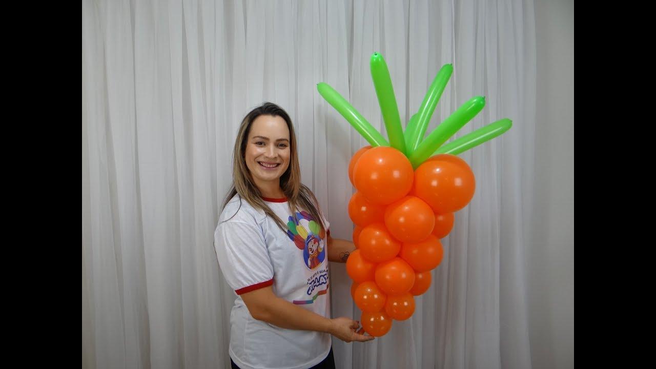 Decoraç u00e3o com Balões Como Fazer Uma Cenoura de Balões YouTube -> Decoração Com Balões Como Fazer Passo A Passo