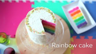 Easy rainbow cake recipe - How to make a rainbow cake