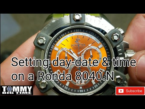 Setting the Day of the Week, Time & date on a Swiss Ronda 8040.N Movement