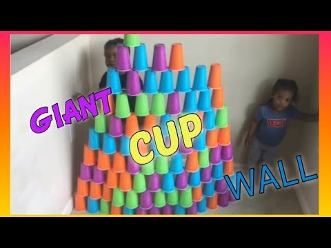 Kids Pretend Play Stacking Cup Game, Giant Cup Wall  KIDS RULE TV