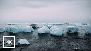 Walking in the Rain and Ocean  Binaural Sounds at Diamond Beach, Iceland (Sounds for Sleep) ASMR