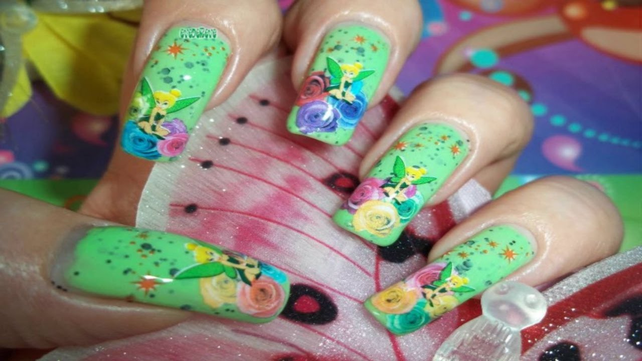 Nail Art Ideas nail art water decal : Tuto Nail Art Water Decal Fée Clochette Tinkerbell Disney - YouTube