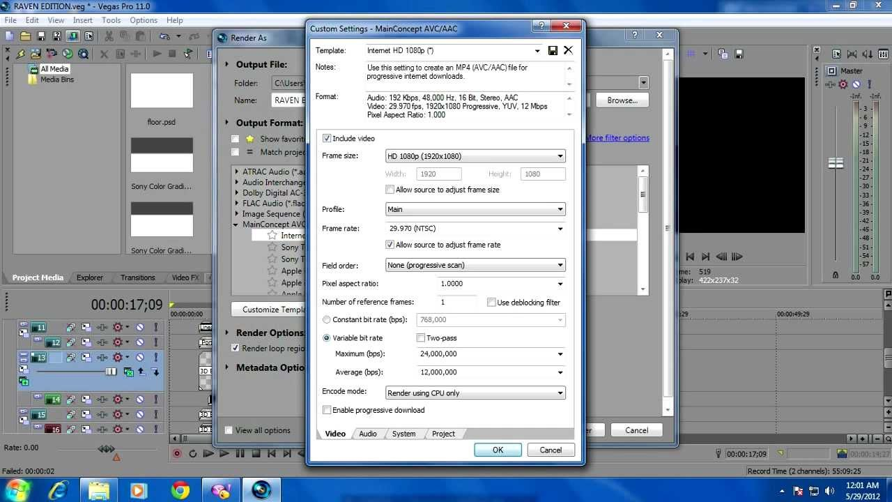 how to fix sony vegas pro 12 render fix error occurred while