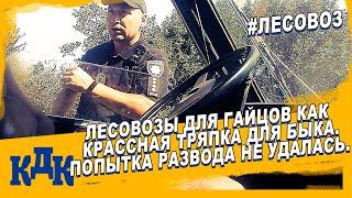 Полиция пытается развести лесовоз везущий дрова