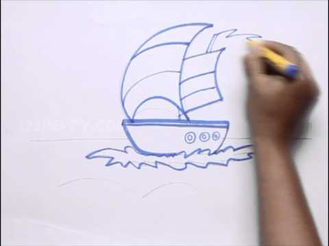 How To Draw Boat In The Sea Youtube