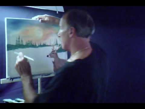 Oil Painting a White Tail Deer Landscape Evergreen Trees Volume 6 Lesson # 130