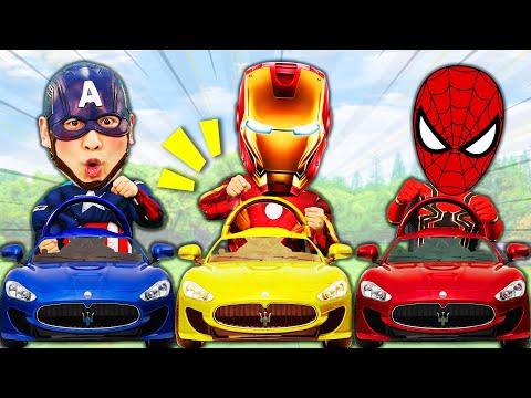 슈퍼히어로 강이 캡틴아메리카 스파이더맨 아이언맨 자동차 맞추기 놀이Wrong Superheroes Car Puzzle
