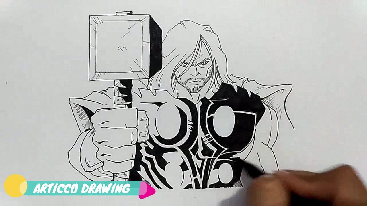 Advanced Drawing Thor and Hammer - YouTube