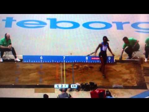 Goteborg 2013 long jump women final medal jumps: Klishina, Lesueur, Jarder