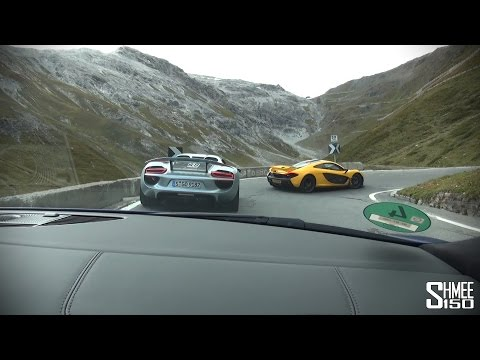 Audi R8 V10 Plus Chasing McLaren P1 and Porsche 918 on the Stelvio Pass