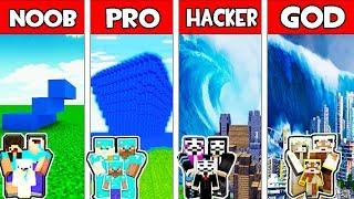 Minecraft - NOOB vs PRO vs HACKER vs GOD : FAMILY EPIC TSUNAMI APOCALYPSE in Minecraft Animation