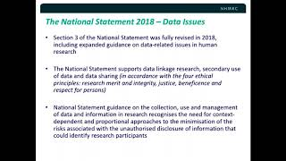 Summary- Data management in the NHMRC's revised Nat.Statement on Ethical Conduct in Human Research