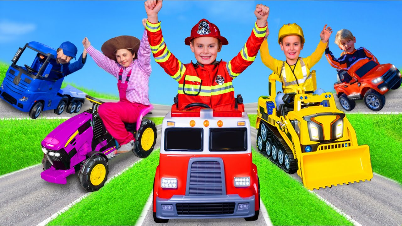 Kids Pretend Play and Learn to Share with Toy Vehicles