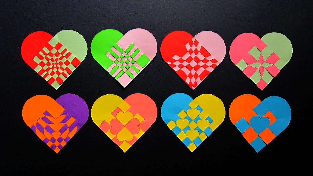 How To Make A Woven Heart Basket : Paper heart tutorial make woven hearts for gifts