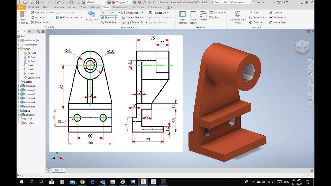 رسم المنظور الهندسي من خلال مسقطين برنامج الانفينتور 3d Modelling Inventor