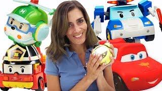 Robocars, Tayo und McQueen im Spielzeugkindergarten - Video  für  Kinder.