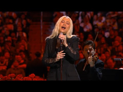 "Christina Aguilera performing ""Ave Maria"" in honor of Kobe Bryant"