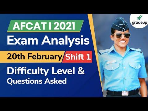 AFCAT 1 2021 Analysis | AFCAT 20th February Shift 1 | AFCAT 1 2021 Answer Key | AFCAT Analysis 2021