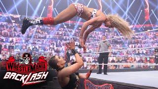 Charlotte Flair launches high-risk attack on Rhea Ripley and Asuka: WrestleMania Backlash 2021