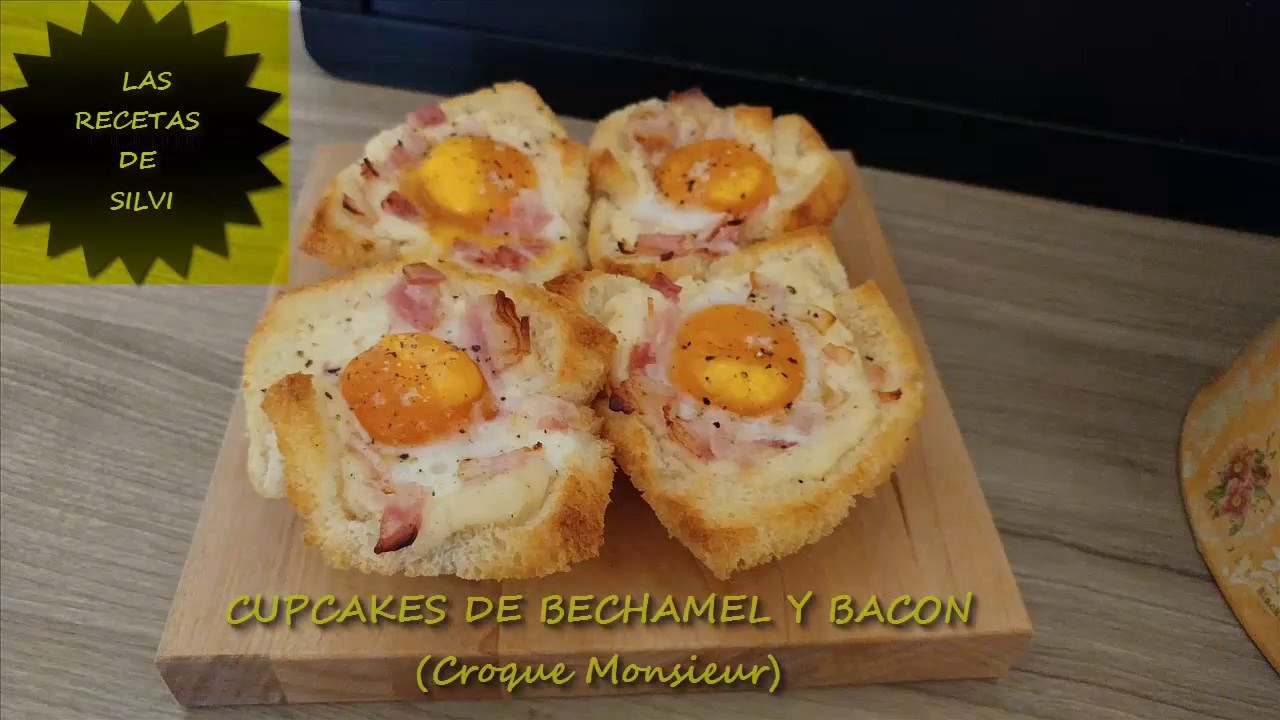 cupcakes de bacon y bechamel croque monsieur las recetas. Black Bedroom Furniture Sets. Home Design Ideas