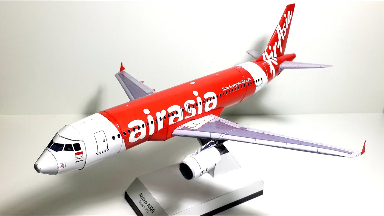 Papercraft 1:100 scaled Paper Model of the Air Asia's Airbus A320-200 by Atamjeet