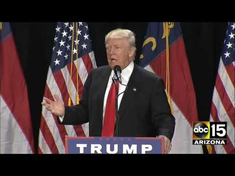 Donald Trump tears in to the media in Charlotte, North Carolina