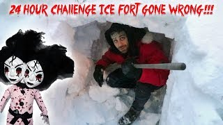 24 HOUR CHALLENGE IN AN IGLOO WITH A HAUNTED DOLL GONE WRONG! HE GOT HURT!!