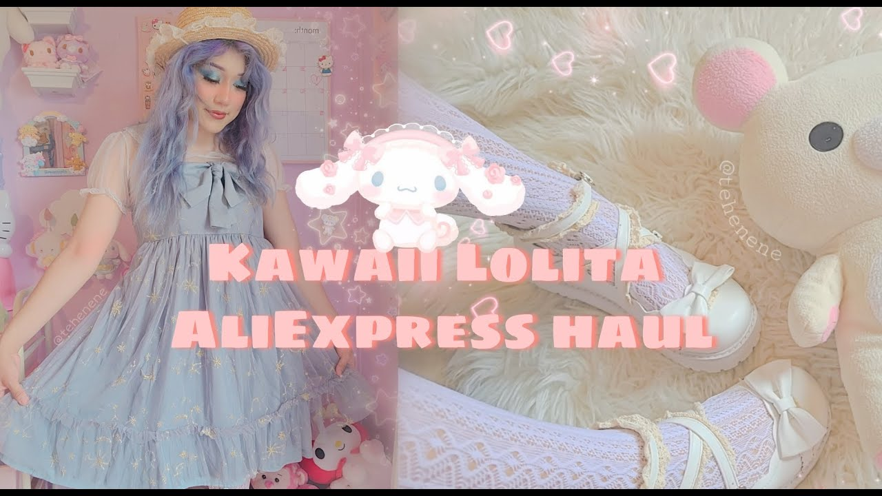 Kawaii Lolita cottage core AliExpress haul and try on