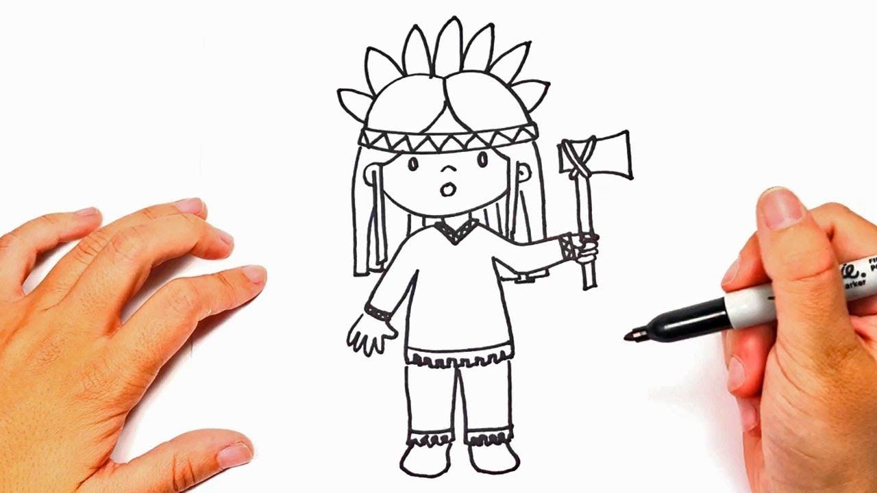 Cómo Dibujar Un Indio Paso A Paso Dibujo Fácil De Indio Youtube