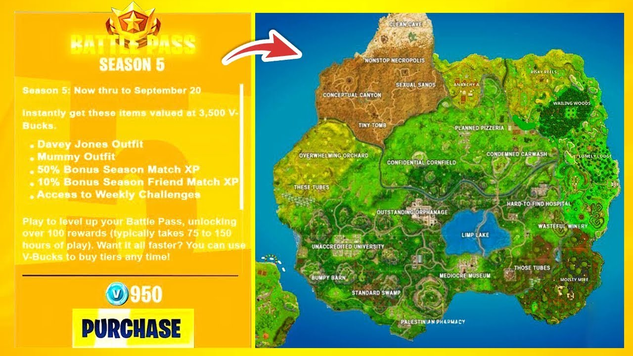 Mapa Fortnite Temporada 5 Español.Filtrado Temporada 5 En Fortnite Battle Royale Pase De