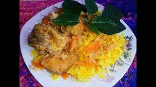 Вкусный ужин!!! Рыба на с рисом на пару в мультиварке!!! Натотения с овощами и рисом в мультиварке