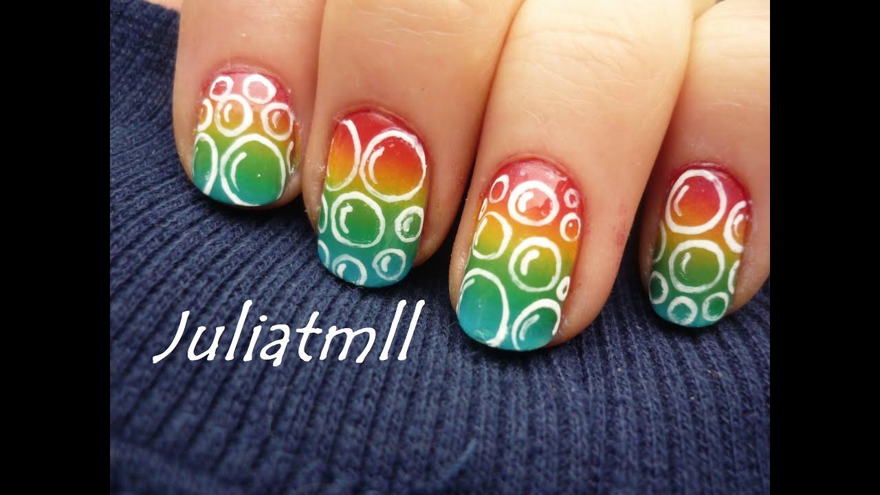 Rainbow Bubbles Nail Art Tutorial