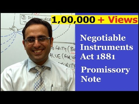 INTRODUCTION TO PROMISSORY NOTE VIDEO (Negotiable Instruments Act 1881)