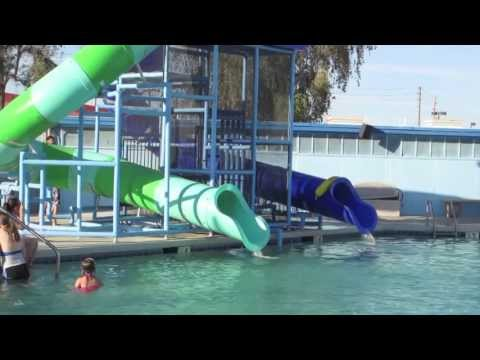 Swimming pool and water slide fun