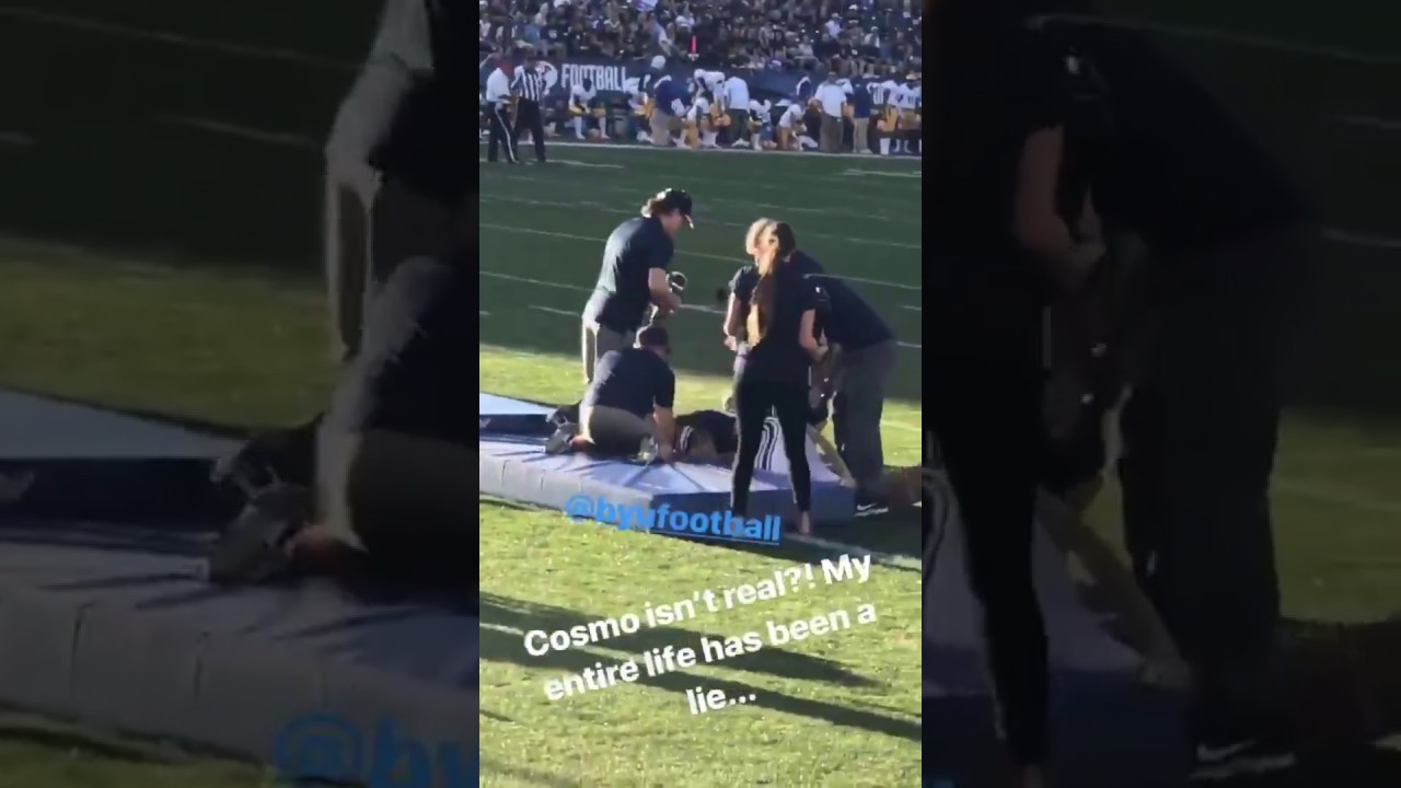 cabf059e5 BYU mascot Cosmo the Cougar loses head during tumbling routine - YouTube