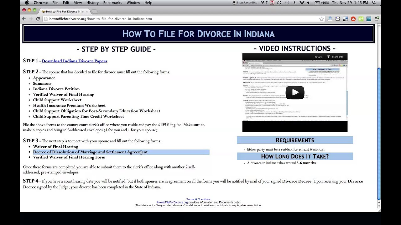 How to File For Divorce in Indiana YouTube – Indiana Child Support Worksheet