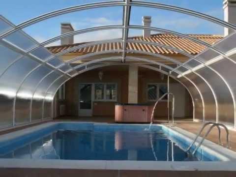 Cubiertas para piscina tecnyvan modelo etna youtube for Techos economicos para viviendas