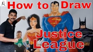 How to draw JUSTICE LEAGUE HD( Batman,Superman,flash,Wonder woman,Green lantern,Martian & Hawkgirl )