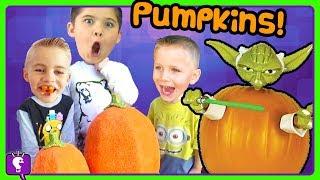 Pumpkin Treats! We Make Pumpkin Surprise Faces with HobbyKidsTV