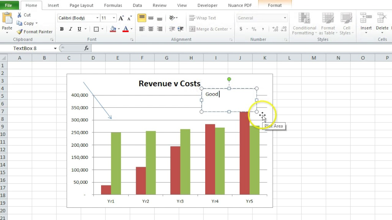 How to add text boxes and arrows an excel chart also youtube rh