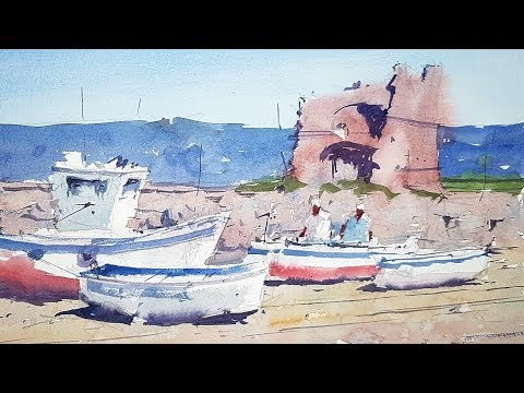 Watercolor Tutorial - Subscriber Suggestion - Boats in an Italian Landscape by Tim Wilmot #38