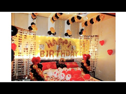 Birthday Room Decoration Ideas At Home Surprise Balloon Anniversary Youtube