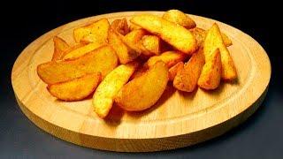 Картофель по деревенски с сырным соусом.