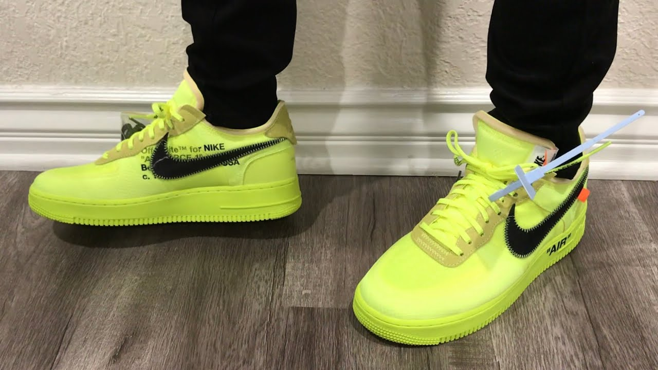 d44b945742d0 Off White Air Force 1 Low Volt Black On Feet + Sizing - YouTube