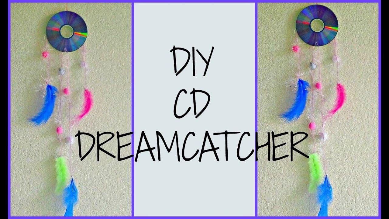 Diy room decor cd dreamcatcher youtube for How do u make a dreamcatcher