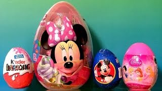 Huge Minnie Mouse Easter Eggs SURPRISE PeppaPig Disney Princess Kinder Choco HelloKitty Funtoys