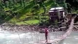 Stpone-age bridge in Kail seri Neelum Valley Azad Kashmir(POK)